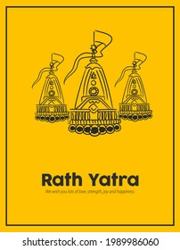 Vector design of Ratha Yatra of Lord Jagannath, Balabhadra and Subhadra on Chariot for the ocassion of Odisa god Rathyatra Festival