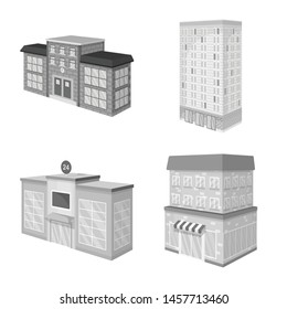 Vector design of realty and modern symbol. Set of realty and building stock vector illustration.