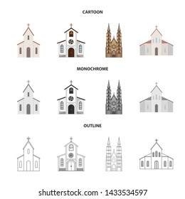 Vector design of religion and wedding logo. Set of religion and house stock symbol for web.