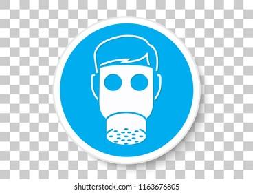 vector design of respiratory equipment must be worn sign