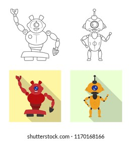 Vector design of robot and factory icon. Set of robot and space vector icon for stock.