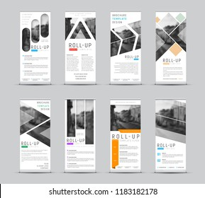 Vector design of roll-up banners with different geometric shapes for a photo. White templates for business and advertising. Set