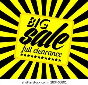 Vector design for sale banner template. Sale label design sample. Sale background with centered stripes for advertisement.