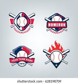 Vector design set for Baseball sport team logo