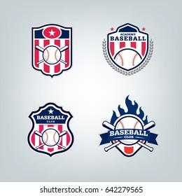 Vector design set of Baseball sport team logo
