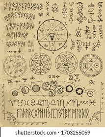 Vector design set with magic letters, pentacle, runes, zodiac, seals. Esoteric and occult illustration with mystic and gothic symbols. No foreign language, all elements are fantasy.