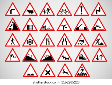 vector design set of traffic sign symbol concept
