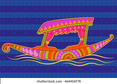 Vector design of shikara boat in Indian art style