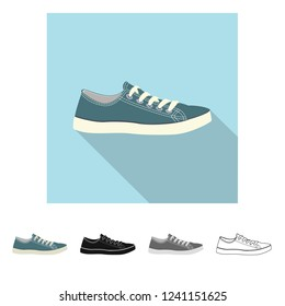 Vector design of shoe and footwear icon. Collection of shoe and foot vector icon for stock.