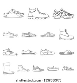 Vector design of shoe and footwear icon. Set of shoe and foot stock symbol for web.