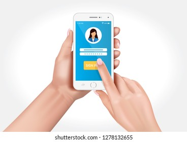 Vector design showing hands holding a smartphone with the option to login to the application
