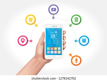 Vector design showing hands holding a multifunctional smartphone with applications