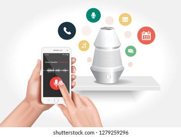 Vector design showing a smart speaker compatible with the smartphone application