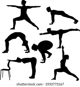 Vector design of silhouettes slim woman doing yoga poses. Set of yoga positions.