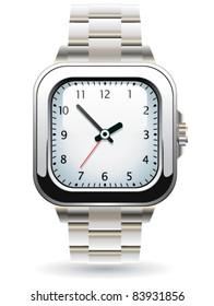 vector design of silver wristwatch