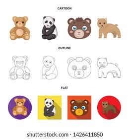 Vector design of sleep and brown sign. Set of sleep and animal stock vector illustration.