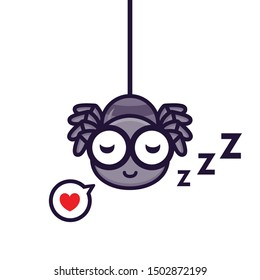 Vector design of sleeping love spider mascot