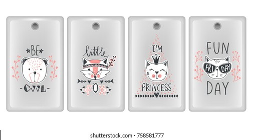Vector design for smartphone covers. Phone cases with  cute animals. Set with teddy bears, cats, fox. Trendy design in sketch style.