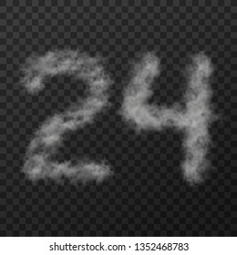 vector design of smoke textured number means twenty four, isolated on transparent background