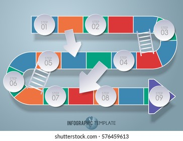 Vector design snake stairs template with 3D paper label, integrated circles background. Blank space for content, business, infographic, diagram, flowchart, diagram, time line or steps process