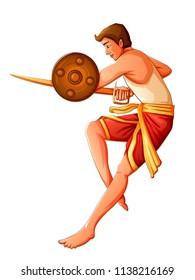 Vector design of South Indian people performing Kalaripayattu dance form of martial art