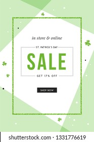 Vector design for St. Patrick's Day sale web banners, posters. Good for social media, email, print, ads design and promotional material.