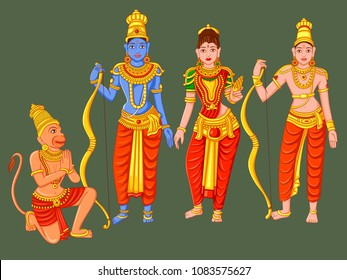 Vector design of Statue of Indian God Rama, Laxmana, Sita and Hanuman  sculpture