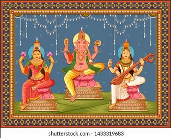 Vector design of statue of Indian God Lakshmi Ganesha  and Saraswati with vintage floral frame background
