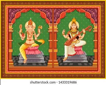 Vector design of statue of Indian God Ganesha  and Saraswati with vintage floral frame background