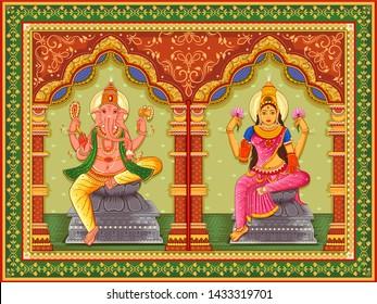 Vector design of statue of Indian God Lakshmi Ganesha with vintage floral frame background