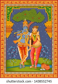 Vector design of statue of Indian God Radha and Krishna with vintage floral frame background