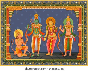 Vector design of Statue of Indian God Rama, Laxmana, Sita and Hanuman with vintage floral frame background