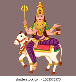 Vector design of statue of Indian Goddess Maha Gauri sculpture one of avatar from Navadurga engraved on stone