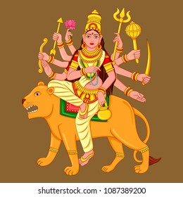 Vector design of statue of Indian Goddess Chandraghanta sculpture one of avatar from Navadurga engraved on stone