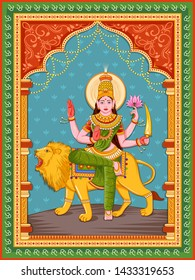 Vector design of statue of Indian Goddess Katyayani one of avatar from Navadurga with vintage floral frame background
