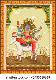 Vector design of statue of Indian Goddess Kaal Ratri one of avatar from Navadurga with vintage floral frame background