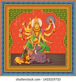 Vector design of statue of Indian Goddess Durga with vintage floral frame background