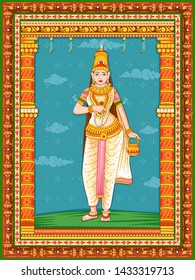 Vector design of statue of Indian Goddess Brahmacharini one of avatar from Navadurga with vintage floral frame background