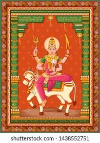 Vector design of statue of Indian Goddess Shailaputri sculpture one of avatar from Navadurga with vintage floral frame background