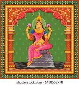Vector design of statue of Indian Goddess Lakshmi with vintage floral frame background