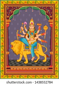 Vector design of statue of Indian Goddess Kushmanda one of avatar from Navadurga with vintage floral frame background