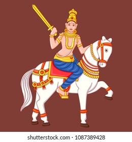 Vector design of statue of Indian Lord Kalki sculpture one of avatar from the Dashavatara of Vishnu engraved on stone