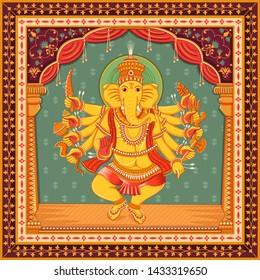 Vector design of statue of Indian Lord Ganesha with vintage floral frame background