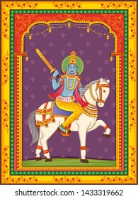 Vector design of statue of Indian Lord Kalki one of avatar from the Dashavatara of Vishnu with vintage floral frame background