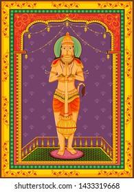 Vector design of statue of Indian Lord Hanuman with vintage floral frame background