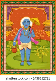 Vector design of statue of Indian Lord Vamana sculpture one of avatar from the Dashavatara of Vishnu with vintage floral frame background