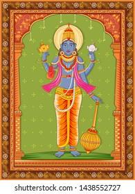 Vector design of statue of Indian Lord Vishnu with vintage floral frame background