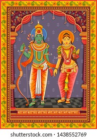 Vector design of statue of Indian Lord Rama Sita with vintage floral frame background