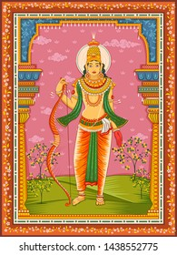 Vector design of statue of Indian Lord Rama with vintage floral frame background