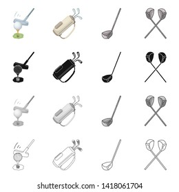 Vector design of  and stick symbol. Collection of  and golf  stock symbol for web.